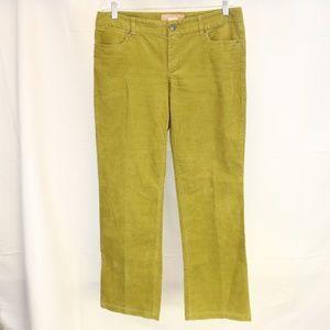 J Crew Women's  32R Bootcut Green Corduroy Jeans